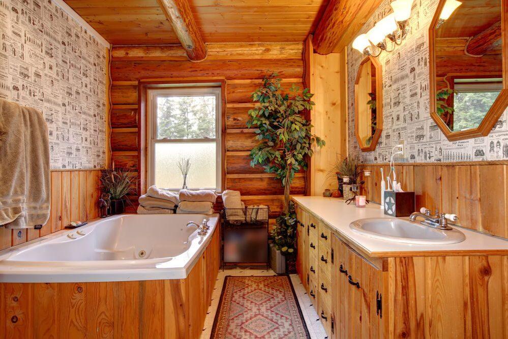 Ремонт в ванной комнате в деревянном доме